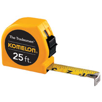 "25' MEASURING TAPE.  1"" X 25' KOMELON USA YELLOW TRADESMAN"
