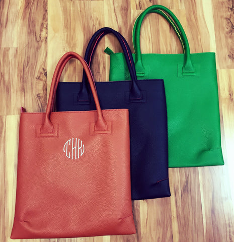 Monogrammed Tote Leather Bag gift for her