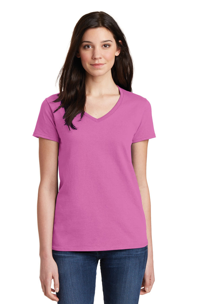 Gildan® Ladies Heavy Cotton 100% Cotton V-Neck T-Shirt. 5V00L""