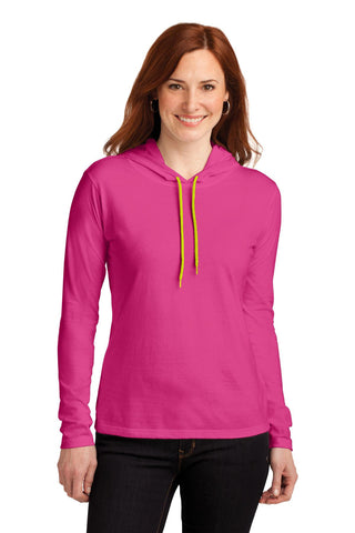 Anvil® Ladies 100% Ring Spun Cotton Long Sleeve Hooded T-Shirt. 887L