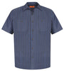 Red Kap® - Short Sleeve Striped Industrial Work Shirt.  CS20
