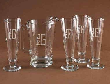 Glass Monogrammed Beer Pitcher