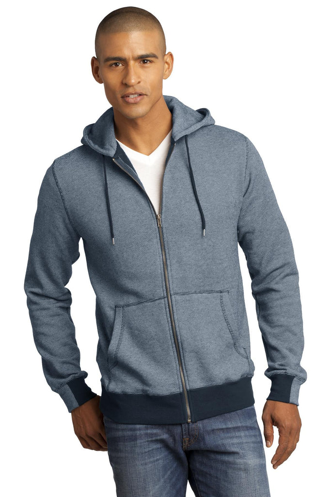 District Made® - Mens Mini Stripe Full-Zip Hoodie. DM390