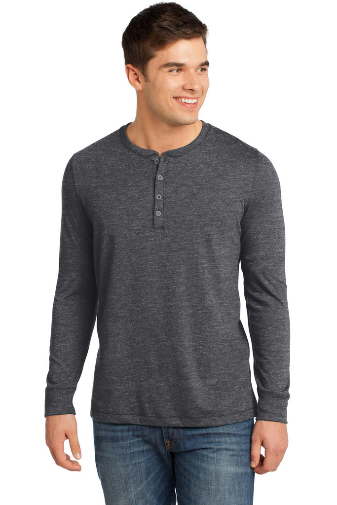 District® - Young Mens Gravel 50/50 Long Sleeve Henley Tee. DT1401