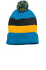 District® - Vintage Striped Beanie with Removable Pom. DT627