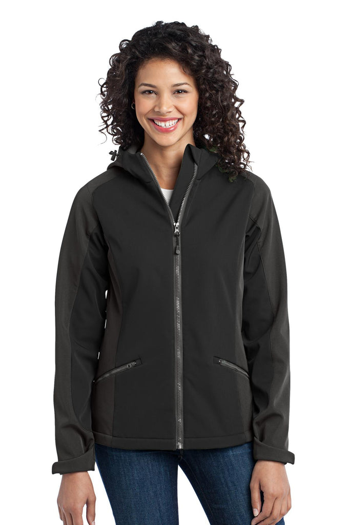 Port Authority® Ladies Gradient Hooded Soft Shell Jacket. L312