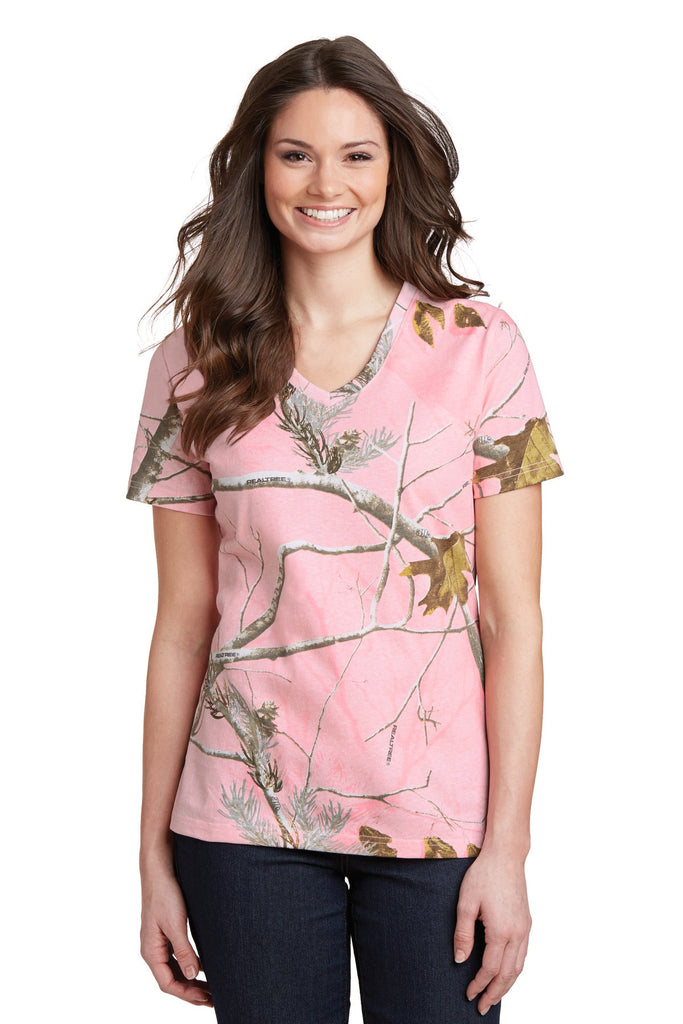 Russell Outdoors Realtree® Ladies 100% Cotton V-Neck T-Shirt. LRO54V""