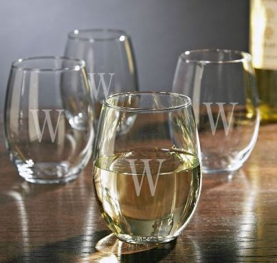 Glass Monogrammed Stemless Wine Glass