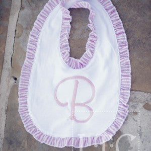 Baby Bib with Pink and White Ruffle Trim