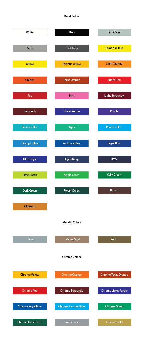 T-Mac Sports Decal Color Chart