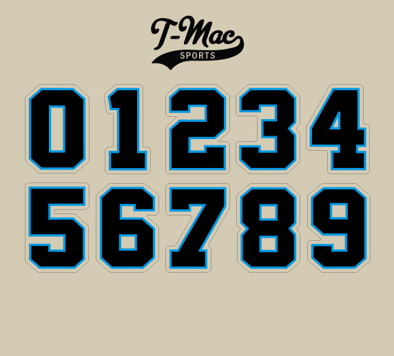Panthers Mini Numbers, Mini Helmet Decals - T-Mac Sports