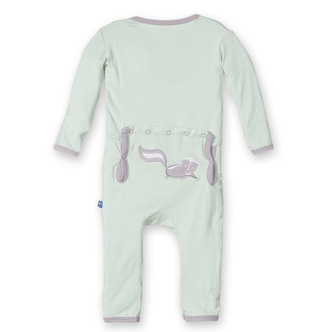Fitted Applique Coverall in Aloe Skunk