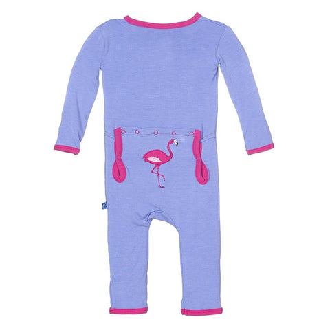 Fitted Applique Coverall in Forget Me Not Flamingo