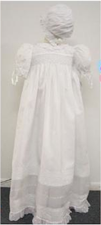 Swiss Batiste Christening Gown with Organdy Insert & Smocked Bodice