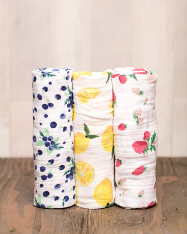 COTTON SWADDLE SET - BERRY LEMONADE