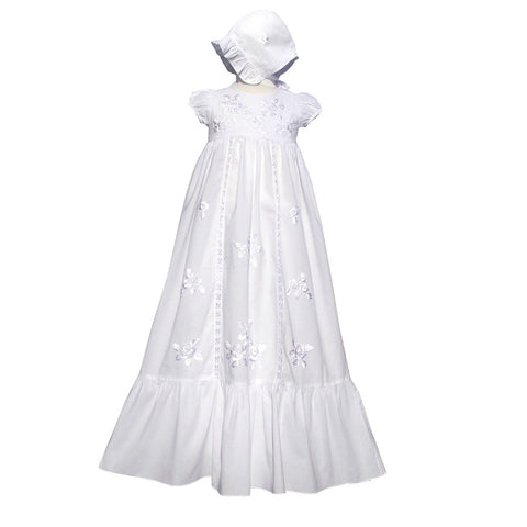 Rose Embroidered Ruffle Christening Gown