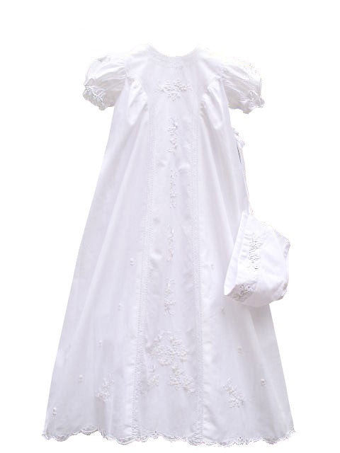 Rosettes Embroidered Christening Gown