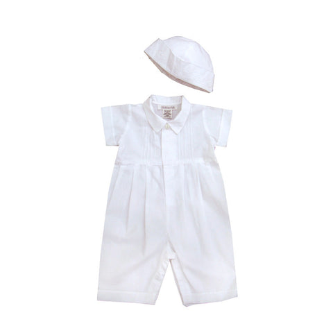 Simple Embroidered Boys Christening Romper