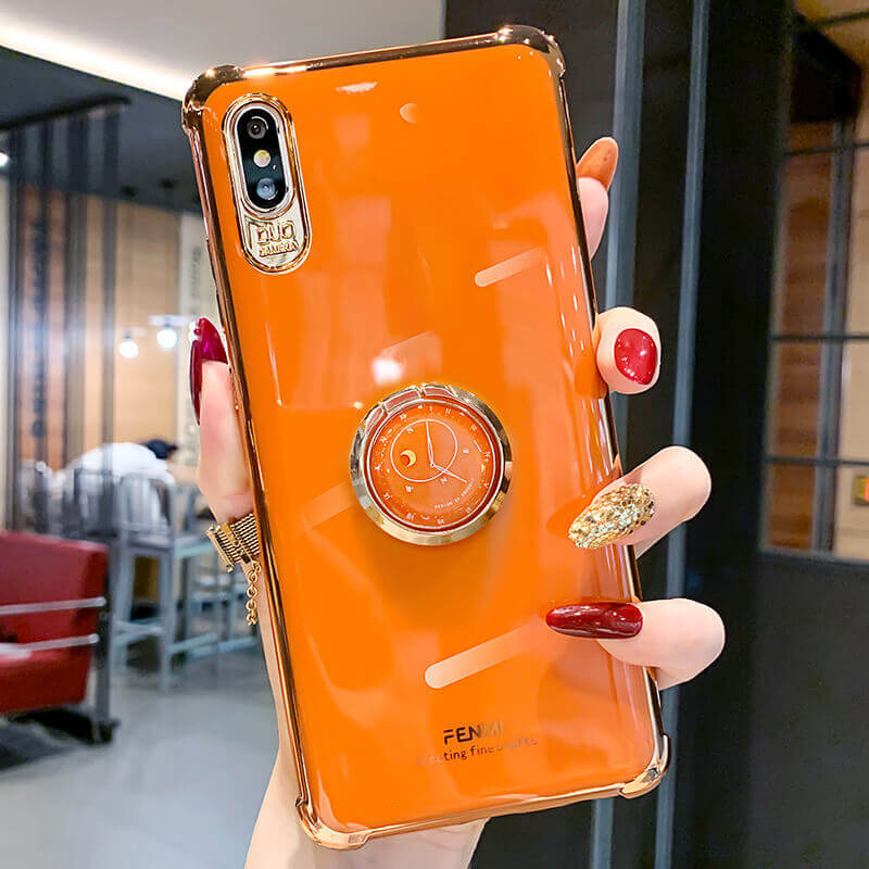 Solid Color Phone Case with Clock Stand