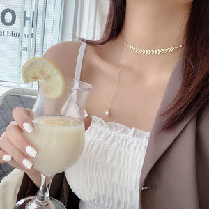 Elegant Wheat Pearl Clavicle Chain