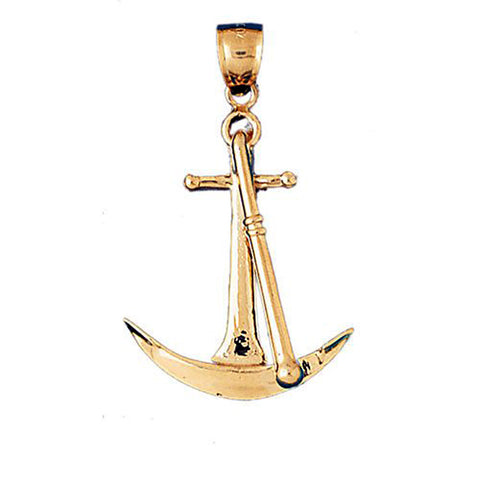 CleverEve Luxury Series 14K Solid Gold 3-D Anchor Pendant - 5.9 Grams - L 37.0mm x W 26.0mm