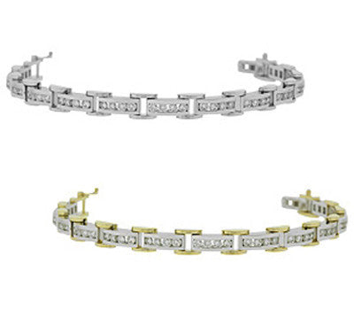 3.90 ctw. Two-Tone Link Tennis Bracelet