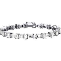 Floating Emerald Cut & Baguette Diamond Tennis Bracelet - 9.19 ctw.