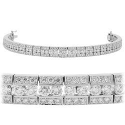 Triple Row Pave Tennis Bracelet