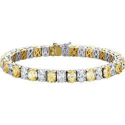 Oval White & Yellow Diamond Tennis Bracelet - 22.35 ctw.