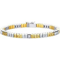 Trio Platinum & 22K Yellow Gold Princess Yellow & White Diamond Tennis Bracelet - 7.62 ctw.