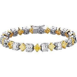Radiant Light Yellow & White Cushion Diamond Tennis Bracelet - 24.26 ctw.