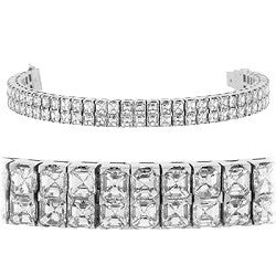 Double Row Asscher Diamond Tennis Bracelet