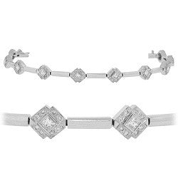 Diagonal Diamond Link Tennis Bracelet