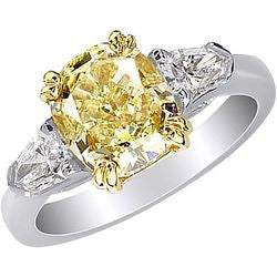 3.04 ct. Fancy Intense Yellow Cushion Cut Platinum & 22K Yellow Gold Diamond Ring with Bullet Accents - 0.65 ctw.