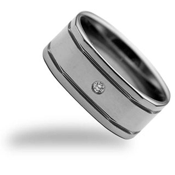 CleverEve Tungsten Nation 9mm Dual Groove Tungsten Diamond Ring with Genuine .09 Carat 2.8mm Diamond Center
