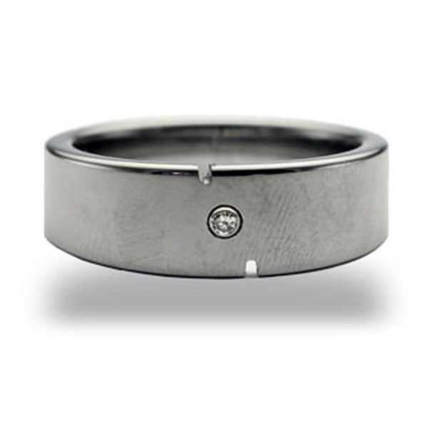 CleverEve Tungsten Nation 8mm Tapered Band Tungsten Diamond Ring with 2 Edge Scuffs & One Genuine .03 Carat 2mm Diamond Tungsten Wedding Band