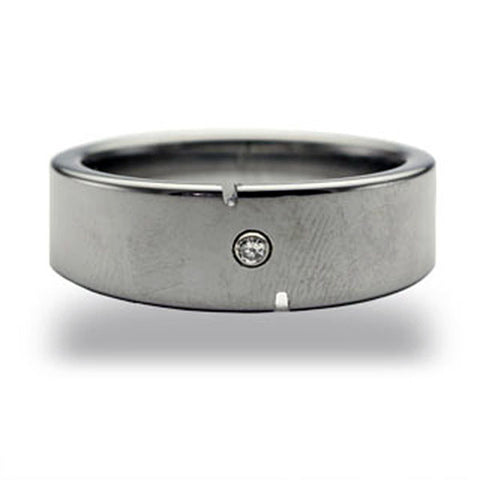 CleverEve Tungsten Nation 8mm Tapered Tungsten Diamond Ring w/ 2 Vertical Grooves on Edges & One Genuine .03 Carat 2mm Diamond Tungsten Wedding Band (Sz 7 to 13)