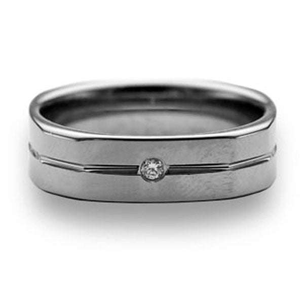 CleverEve Tungsten Nation 6mm Tungsten Diamond Ring with 1 Center Groove & One Genuine .03 Carat 2mm Diamond Tungsten Wedding Band