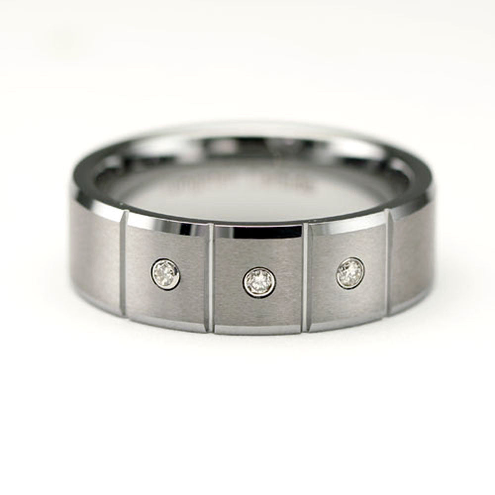 CleverEve Tungsten Nation 8mm Tungsten Diamond Ring with 4 Grooves & 3 Genuine .03 Carat Diamond