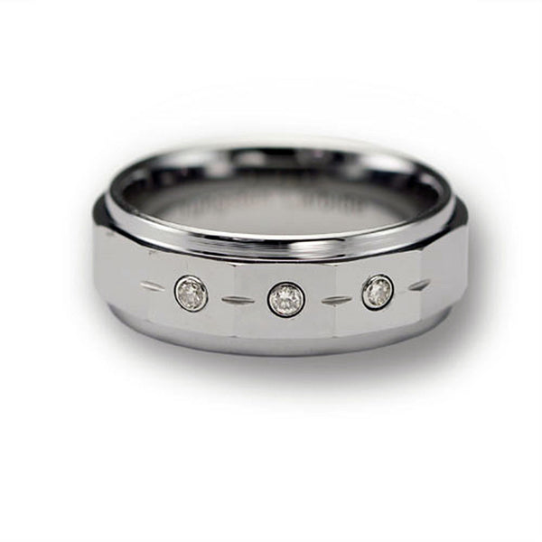 CleverEve Tungsten Nation 8mm Tungsten Diamond Ring w/ 4 Brushed Cuts & 3 Genuine .03 Carat 2mm Diamond Tungsten Wedding Band (Sz 7 to 13)