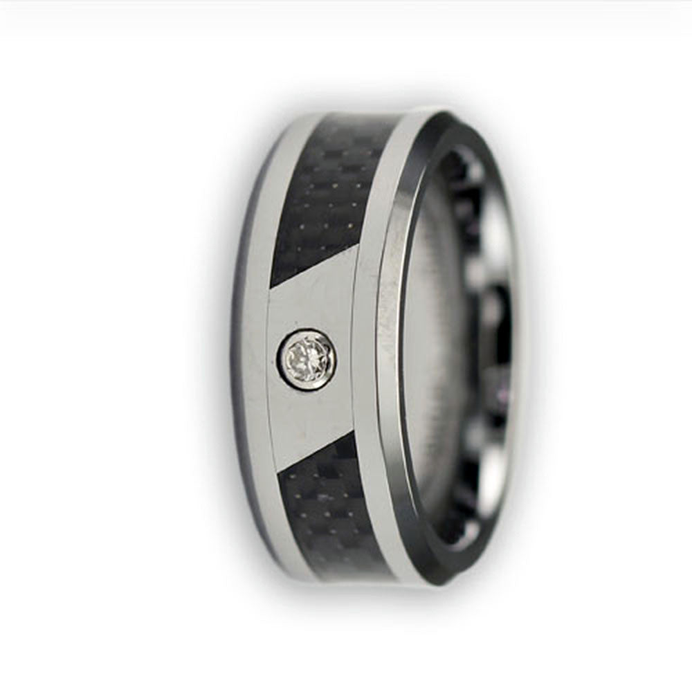 CleverEve Tungsten Nation 8.0mm Tungsten Diamond Ring with Black Carbon Fiber Inlay & .05 Carat Diamond Center