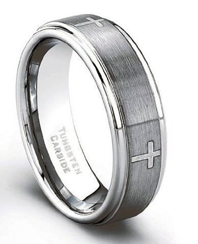 CleverEve Tungsten Nation 7mm Laser Etched Cross Ring Tungsten Wedding Band (Sz 8 to 12)