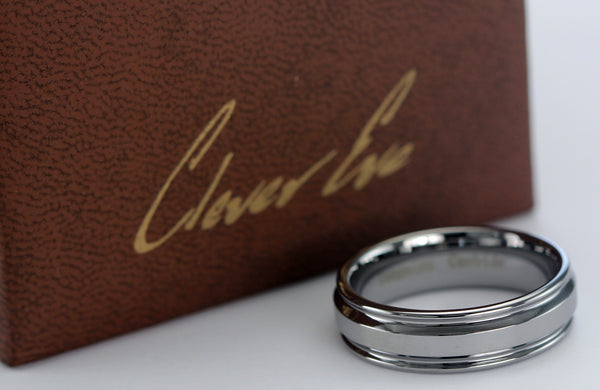 CleverEve Tungsten Nation 7mm Grooved Edge Tungsten Ring High Polished Tungsten Wedding Band (Sz 8 to 12)