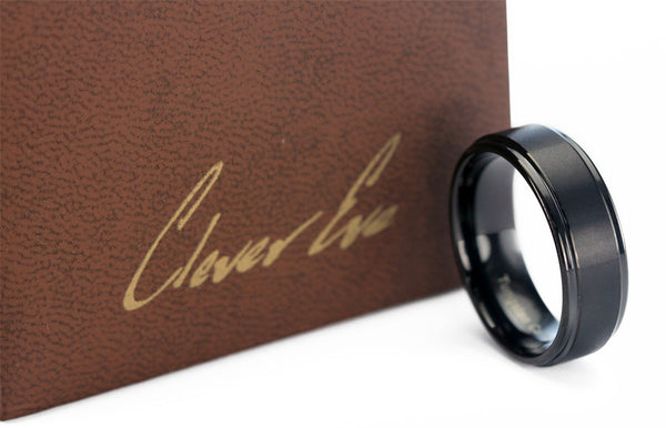 CleverEve Tungsten Nation 8.0mm Mens Tungsten Ring Black Plated Tungsten Wedding Band (From Size 8 to 13)