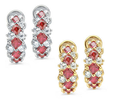 French Clip Prong Set Ruby & Diamond Earrings