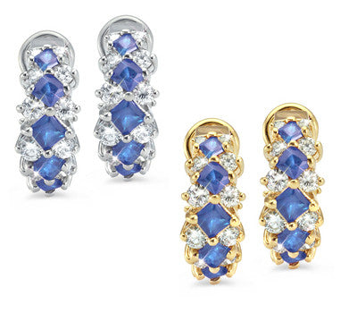 French Clip Prong Set Sapphire & Diamond Earrings