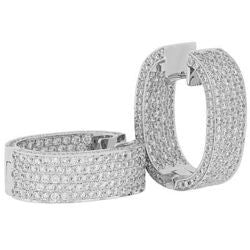 Pave Diamond Hoop Earrings - 7.00 ctw.