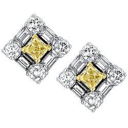 Checkerboard Yellow and White Diamond Stud Earrings - 3.01 ctw.