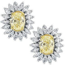 4.14 Carat Sunshine Oval & Marquis Shaped Diamond Earrings - 2.82 ctw.