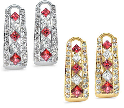 French Clip Channel Set Ruby & Diamond Earrings
